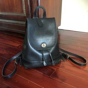 RARE Coach Vintage Black Leather Flap Bag Backpack